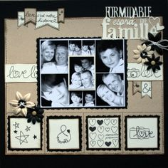 Family layout with doodles Papel Scrapbook, Scrapbook Albums, Scrapbook Cards, Scrapbook Sketches, Scrapbook Page Layouts, Picture Layouts, Envelopes, Scrapbooks, Mini Albums