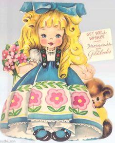 Vintage 1949 American Greetings Paper Doll Card Goldilocks and the Three Bears $7.49