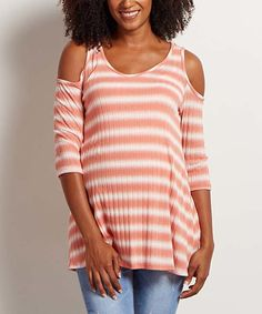 Look at this #zulilyfind! PinkBlush Coral Stripe Shoulder Cutout Maternity Top by PinkBlush Maternity #zulilyfinds