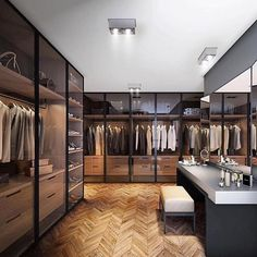 Best Modern Closet Design, For you fashion lovers and the latest clothing collection, the closet is a favorite furniture that is certainly needed at home. Walk In Closet Design, Closet Designs, Modern House Design, Modern Interior Design, Luxury Interior, Modern Mansion Interior, Modern Houses, Armoire En Pin, Dressing Room Design
