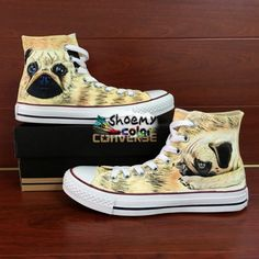 Hand Painted Converse All Star Shoes Dog Pug High Top Canvas Sneaker