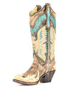 Corral cowboy boot- antique finish with turquoise accents... what's not to love? | http://www.countryoutfitter.com/products/30996-womens-black-antique-saddle-turquoise-eagle-overlay-r2289 #cowgirlboots