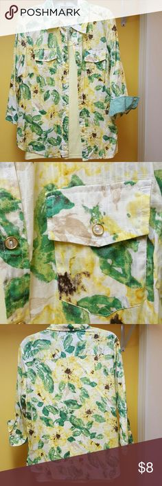 Karen Scott Button up blouse Mixed print button blouse. 3/4 sleeve,slight shirt tail. Styled with a yellow tank (not included).Looks great with green or white also. Wear as a shirt or jacket. DYT Type 1 Karen Scott Tops Button Down Shirts