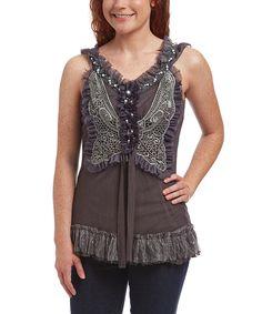 Look what I found on #zulily! Pretty Angel Gray Ruffle Silk-Blend Sleeveless Butterfly Tunic - Women by Pretty Angel #zulilyfinds