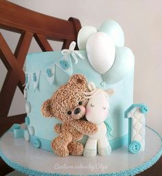 Baby Shower Cake Teddy bear by Couture cakes by Olga Baby Cakes, Baby Shower Cakes, Tortas Baby Shower Niña, Teddy Bear Baby Shower, Baby Boy Shower, Baby Boy Birthday Cake, Mermaid Birthday, Birthday Cake For Kids, Teddy Bear Birthday Cake