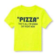 s Toddler Boys Short Sleeve 'Pizza That's All I'm Gonna Say Right Now' Neon Graphic Tee - Yellow T-Shirt - The Children's Place