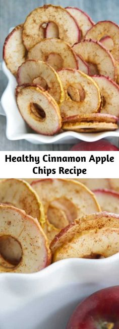 Healthy Cinnamon Apple Chips Recipe - Cinnamon Apple Chips, made with a few simple ingredients like McIntosh apples, cinnamon and sugar are a healthy snack your whole family will love. Fruit Recipes, Apple Recipes, Fruit Chips Recipe, Cooking Recipes, Snacks Recipes, Recipies, Cinnamon Apple Chips, Healthy Food Options, Recipes