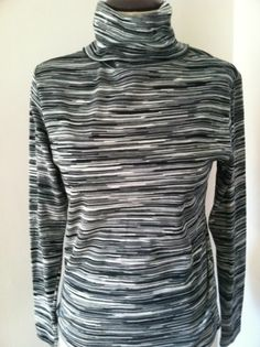 Vintage Stretch Striped Layering Weight Turtleneck /Black/Gray