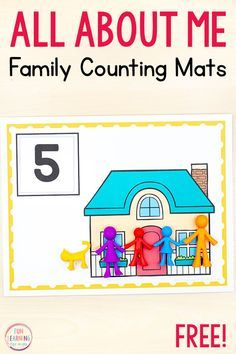 All about me counting mats math activity for preschool, pre-k, and kindergarten math centers. # family activities preschool All About Me Activities Kindergarten Math Activities, Preschool Lesson Plans, Preschool Learning, Montessori Preschool, Montessori Elementary, Counting Activities, Summer Activities, Family Activities, Preschool Family Theme