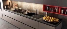#Schock presenta #SIGNUS D100 A colore #Nero #Puro 84, il #lavello da #cucina in #Cristadur e il #miscelatore #AQUAMILL colore Nero Puro 84, esposti in una cucina #Time #Arredo3.  Www.schock.it/lavelli/signus-Cristadur/d100-a/ www.schock.it/miscelatori/miscelatori/aquamill/