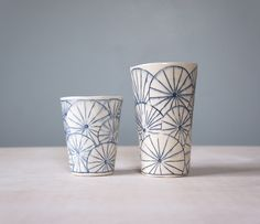 Tumblers with Fans  Porcelain, Inlaid slip  www.gisellehicks.com