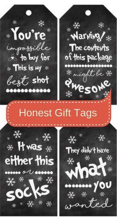 Funny but honest Christmas present gift tags.  #Christmas #Christmasgifts #ad