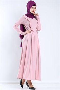 Yanları Fırfırlı Elbise (Pembe)