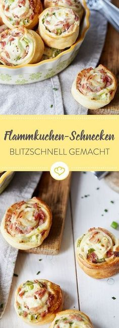 Schnell, schneller, blitzschnelle Flammkuchen-Schneckchen – direkt auf die Hand … Fast, faster, lightning-fast Tarte Flambée – right on the hand and so delicious that small and large have nothing to complain about. Party Finger Foods, Snacks Für Party, Pizza Snacks, Holiday Snacks, Pizza Pizza, Party Desserts, Brunch Recipes, Snack Recipes, Fast Recipes