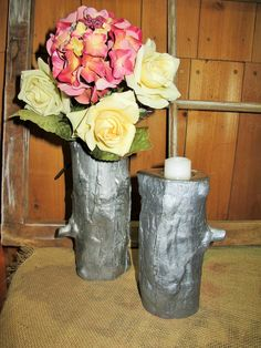 "Qty:  2  Can be used as vases or upside down as candle holders.     Use as a cake table or buffet accent, or anywhere around the room.    These props are available for use by couples holding their weddings at Heart of Rock Farm in Sherwood, Oregon.  To find the top-level board and look at other categories of props (and ideas about how to use them), search for the board called ""Rustic Wedding Props: Heart of Rock Farm"". Wedding Props, Wedding Decorations, Sherwood Oregon, Rustic Wedding, Our Wedding, Cake Table, Got Married, Decorative Items, Vases"