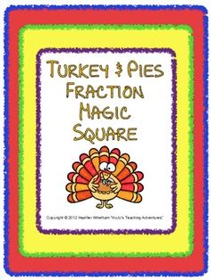 FREE fraction Magic Square Puzzle with turkey & pie graphics! YUM! =)