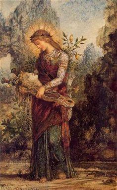 Thracian Girl Carrying the Head of Orpheus, Gustave Moreau Medium: gouache,watercolor,paper Art Magique, Pre Raphaelite, Art Database, Henri Matisse, Old Master, Gouache, Oeuvre D'art, Art History, Tarot
