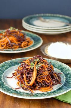 Spiralized Roasted Garlic-Cinnamon Sweet Potato Noodles - BoulderLocavore.com
