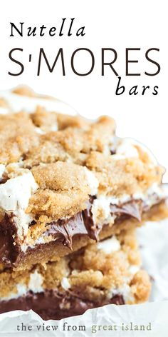 Nutella S'mores Bars ~ everybody's favorite summer treat in an ooey, gooey, decadent, and delicious bar, no campfire needed! Make a batch and watch them disappear before your eyes. Tart Recipes, Cookie Recipes, Dessert Recipes, Beef Recipes, Easy Desserts, Delicious Desserts, Yummy Food, Nutella Recipes, Chocolate Recipes