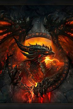 Deathwing dragon black and fiery