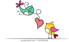 Lovely birds with heart