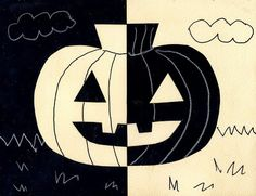 Art Projects for Kids: A Positively Negative Pumpkin. Great project for learning positive, negative, and symmetrical shapes.