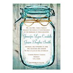 Mason Jar Barn Wood Rustic Wedding Invitations in teal turquoise blue tint #wedding http://www.rusticcountryweddinginvitations.com/mason-jars.html