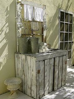 potting shed from cutepinkstuff Patio Pergola, Backyard, Pallet Furniture, Garden Furniture, Potting Station, Garden Sink, Potting Tables, Outdoor Living, Outdoor Decor