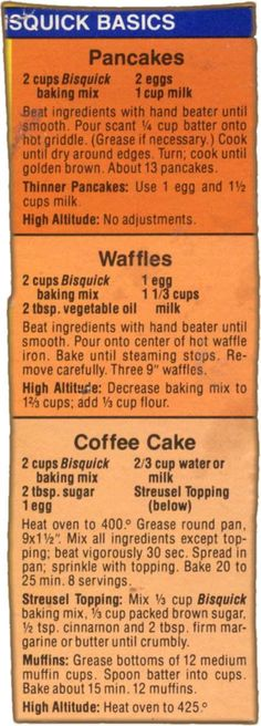 Memere's Favorite Recipes: 3 Bisquick Box Recipes pancakes and waffles Retro Recipes, Old Recipes, Vintage Recipes, Cooking Recipes, Family Recipes, Bisquick Coffee Cake Recipe, Pancake Recipes, Bread Recipes, Snacks