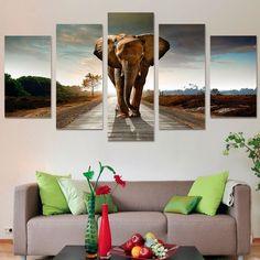 African Elephant In Savanna 5 Piece Canvas Art