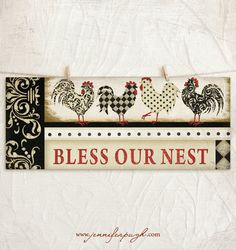 Bless Our Nest 8x18 Art Print -Country, Kitchen Wall Decor -Roosters -Decorative Patterns -Black, Red, Cream, Tan