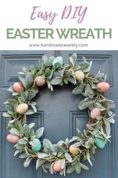 Easter Decorations 54958057940472159 - Easy DIY Easter Wreath – Handmade Weekly Source by Diy Osterschmuck, Easy Diy, Simple Diy, Wreath Crafts, Diy Wreath, Wreath Ideas, Grapevine Wreath, Wreath Making, Diy Ostern