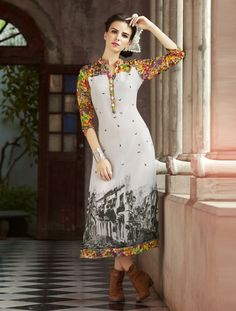 Off White Georgette Printed Readymade Kurti 69609