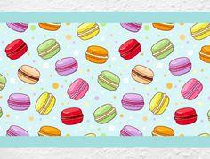 Bunte Küchenbordüre mit Macarons