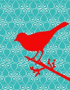 Digital Download No. 06,  Red and Aqua Bird Art  Print. $2.00, via Etsy.