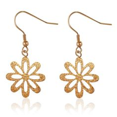 935ad066d ROSE GOLD SANDBLASTED FLOWER DROP HYPOALLERGENIC EARRINGS. Solace Jewellery