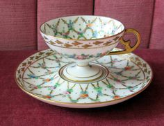 Dresden Germany Pedestal Handpainted Floral demitasse cup and saucer Dresden China, Dresden Germany, Antique Tea Cups, Vintage Teacups, Tea Cup Display, Tea And Crumpets, Dresden Porcelain, Cream Tea, Painted Cups