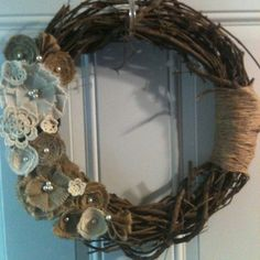Made my own <3 Grapevine wreath with burlap flowers