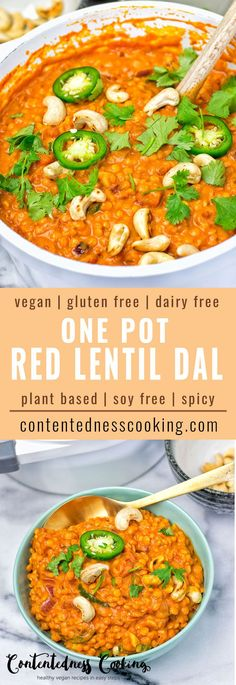 One Pot Red Lentil Dal vegan, gluten free made in one pot and with just 6 ingredients! This dairy free spicy  sensation makes an amazing, dinner lunch.