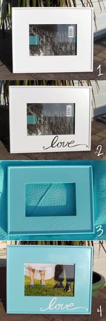 Everyday Cricut - cut vinyl then put on frame, paint & remove (before completely dry)