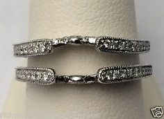 Jacket Vintage Cathedral Ring Wrap Diamonds Guard Solitaire Enhancer White Gold