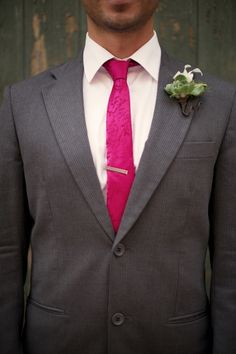 charcoal white and pink groom look #groom #groomlook #weddingchicks http://www.weddingchicks.com/2014/04/08/elegant-heirloom-estate-wedding/