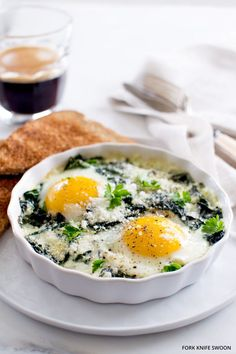 Baked Eggs with Spinach. Quick Baked Eggs with fresh spinach and Swiss chard perfect for Mother's Day Brunch! Chard Recipes, Egg Recipes, Brunch Recipes, Fall Recipes, Breakfast Recipes, Cooking Recipes, Healthy Recipes, Vegetarian Recipes, Healthy Food