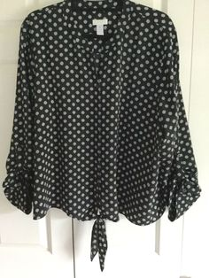 CHICOS SZ 4 Tie Front BLOUSE LONG sleeve with Tabs black white polka dots, EUC  #Chicos #Blouse #Casualcareer