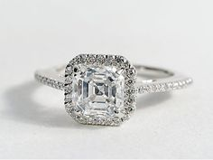 Asscher Cut Halo Diamond Engagement Ring in 18K White Gold #BlueNile #Engagement