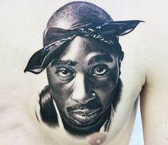 Pretty black and grey realistic tattoo portrait of Tupac done by tattoo artist Jacob Sheffield 2pac Tattoos, Gangster Tattoos, Leg Tattoos, Sleeve Tattoos, Jesus Tattoo Sleeve, Hip Hop Tattoo, Persian Tattoo, Tupac Art, Money Tattoo