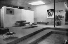 John Entenza's living room, as it was arrayed when it was introduced as Case Study House Number Nine; architects Charles Eames and Eero Saarinen