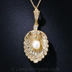 Antique Diamond and Pearl Scallop Shell Pendant