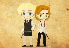 Brienne and Jaime, Hogwarts uniform version by BoredOtter
