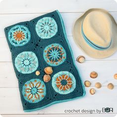 deep ocean crocheted baby blanket pattern for the beach, unisex, colorful, mandala, granny square